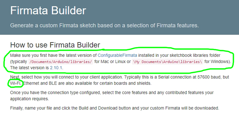 how to use firmata builder